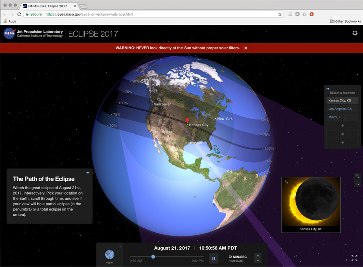 Screenshot of the new web-based Eyes Eclipse application.